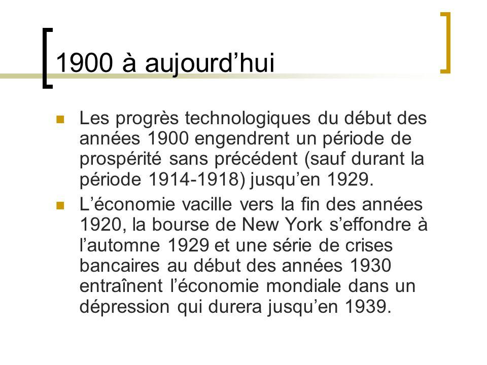 1900 à aujourd'hui Les progrès technologiques du début des années 1900 engendrent un période de prospérité sans précédent (sauf durant la période 1914-1918) jusqu'en 1929.