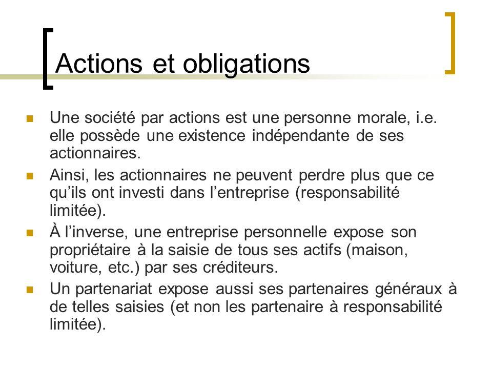 Actions et obligations Une société par actions est une personne morale, i.e.