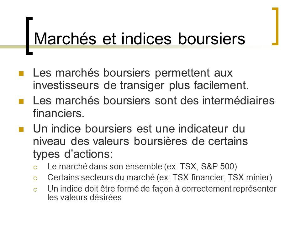 Marchés et indices boursiers Les marchés boursiers permettent aux investisseurs de transiger plus facilement.