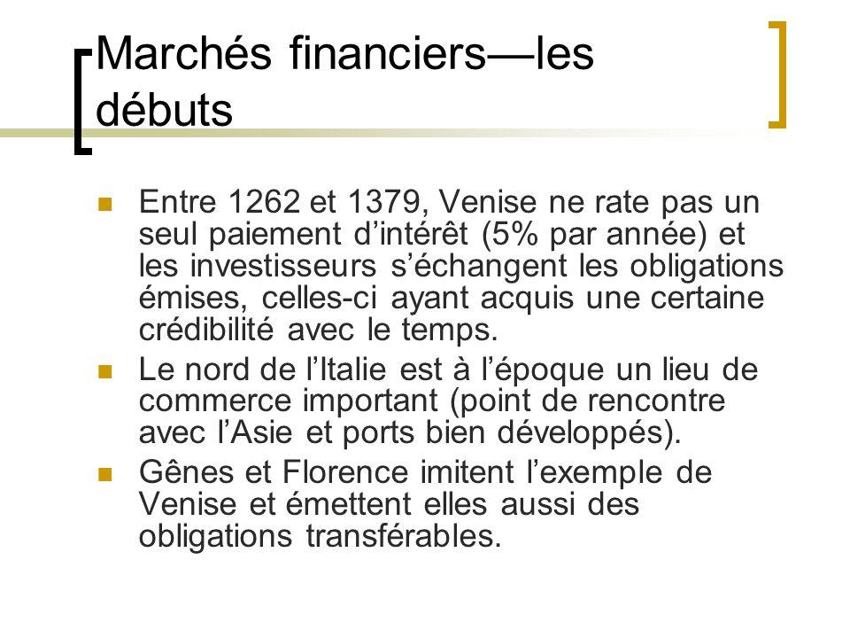 Marchés financiers—les débuts Entre 1262 et 1379, Venise ne rate pas un seul paiement d'intérêt (5% par année) et les investisseurs s'échangent les obligations émises, celles-ci ayant acquis une certaine crédibilité avec le temps.