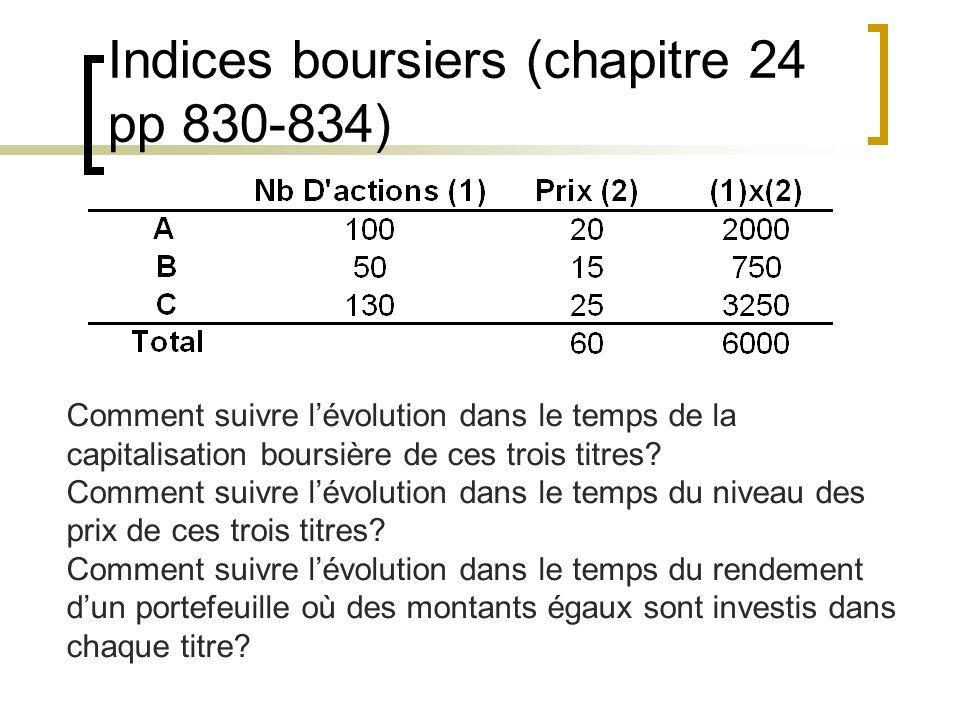 Indices boursiers (chapitre 24 pp 830-834) Comment suivre l'évolution dans le temps de la capitalisation boursière de ces trois titres.