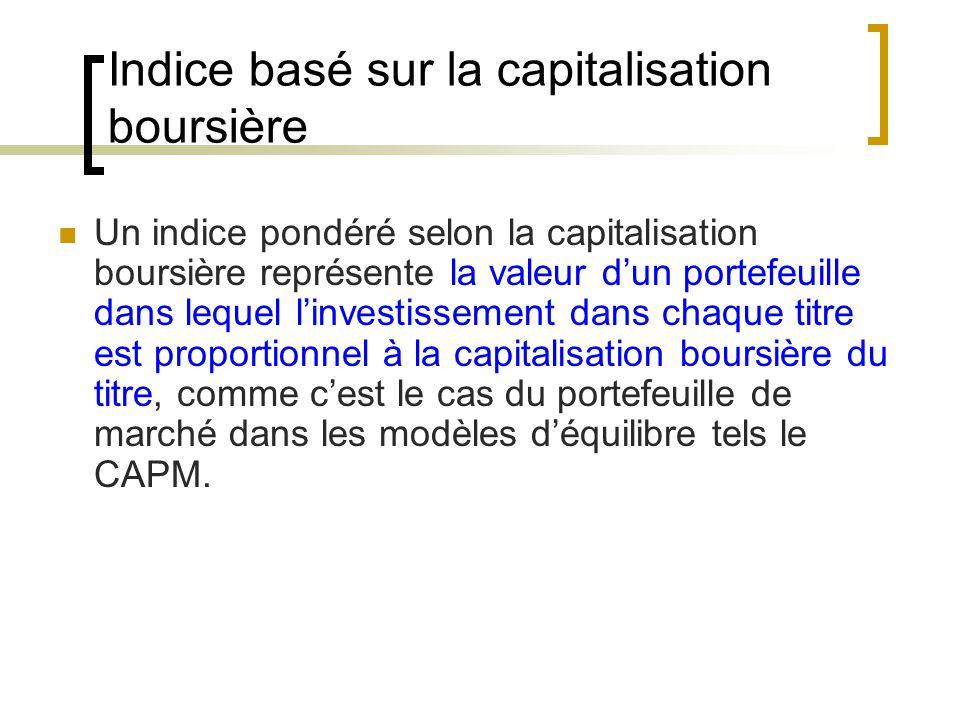 Indice basé sur la capitalisation boursière Un indice pondéré selon la capitalisation boursière représente la valeur d'un portefeuille dans lequel l'investissement dans chaque titre est proportionnel à la capitalisation boursière du titre, comme c'est le cas du portefeuille de marché dans les modèles d'équilibre tels le CAPM.