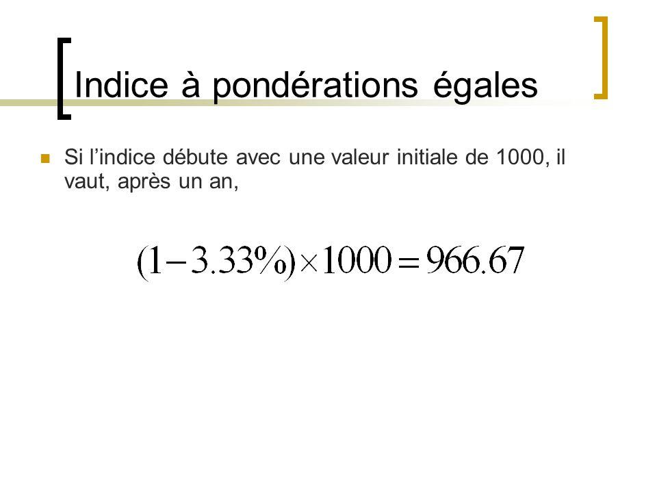 Indice à pondérations égales Si l'indice débute avec une valeur initiale de 1000, il vaut, après un an,