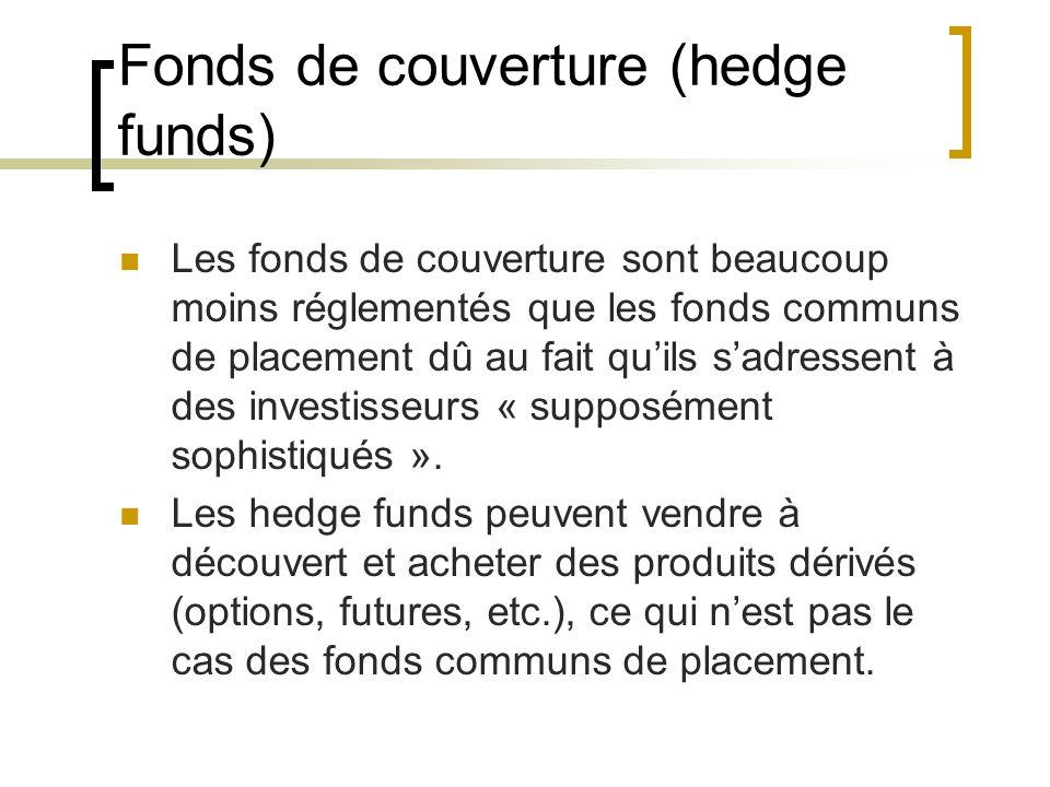 Fonds de couverture (hedge funds) Les fonds de couverture sont beaucoup moins réglementés que les fonds communs de placement dû au fait qu'ils s'adressent à des investisseurs « supposément sophistiqués ».