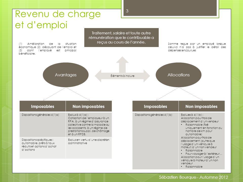 Sébastien Bourque - automne 2012 3 Traitement, salaire et toute autre rémunération que le contribuable a reçus au cours de l'année.