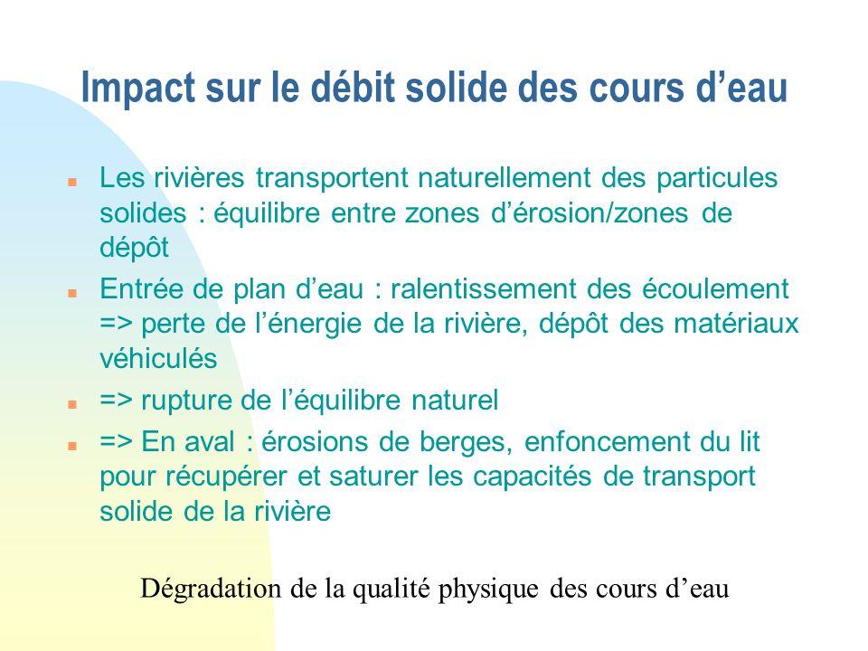 Impact à ne pas négliger : les vidanges relargage des matériaux accumulés dans la retenue : MES, substances toxiques => mortalité de faune variations
