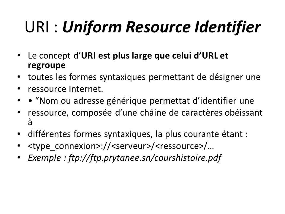 URI : Uniform Resource Identifier Le concept d'URI est plus large que celui d'URL et regroupe toutes les formes syntaxiques permettant de désigner une