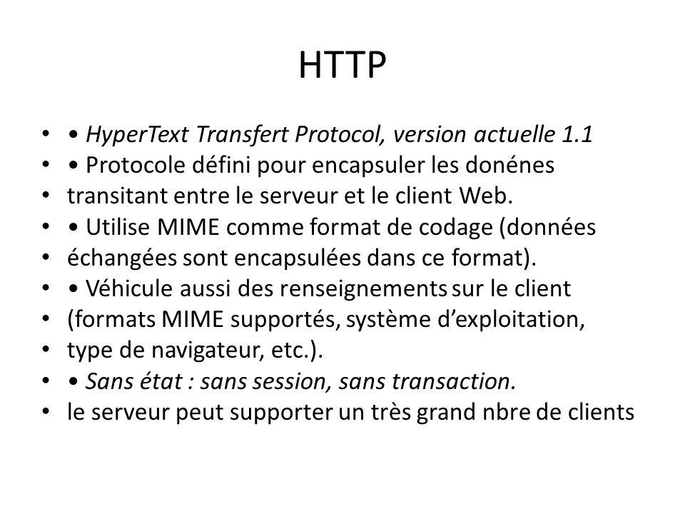 HTTP HyperText Transfert Protocol, version actuelle 1.1 Protocole défini pour encapsuler les donénes transitant entre le serveur et le client Web. Uti