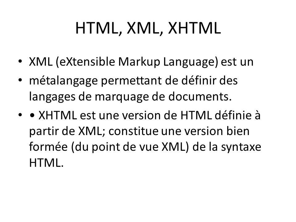 HTML, XML, XHTML XML (eXtensible Markup Language) est un métalangage permettant de définir des langages de marquage de documents. XHTML est une versio