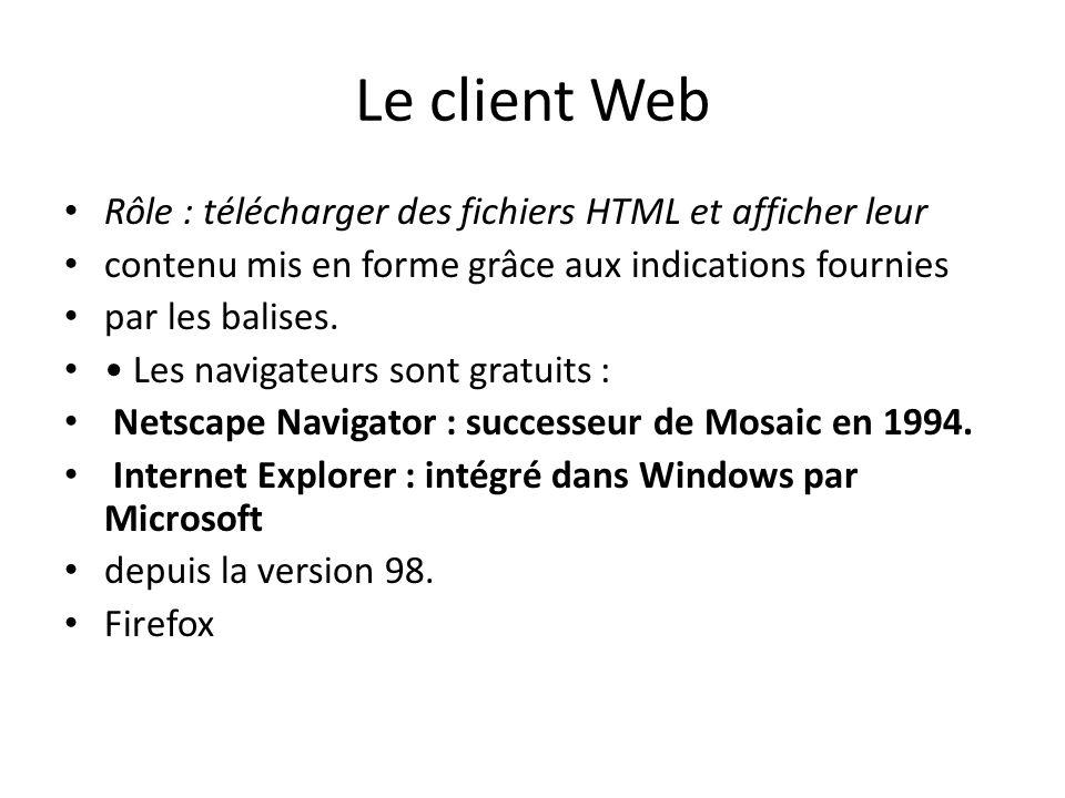 Le client Web Rôle : télécharger des fichiers HTML et afficher leur contenu mis en forme grâce aux indications fournies par les balises. Les navigateu