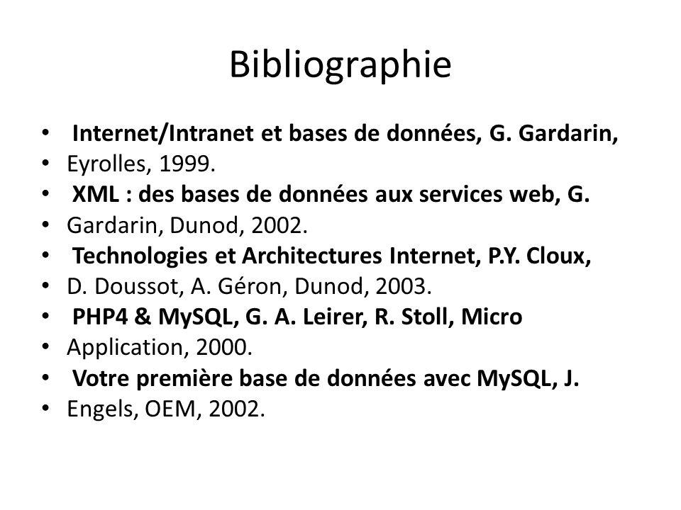 Bibliographie Internet/Intranet et bases de données, G. Gardarin, Eyrolles, 1999. XML : des bases de données aux services web, G. Gardarin, Dunod, 200