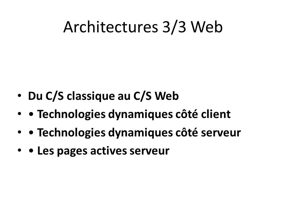 Architectures 3/3 Web Du C/S classique au C/S Web Technologies dynamiques côté client Technologies dynamiques côté serveur Les pages actives serveur