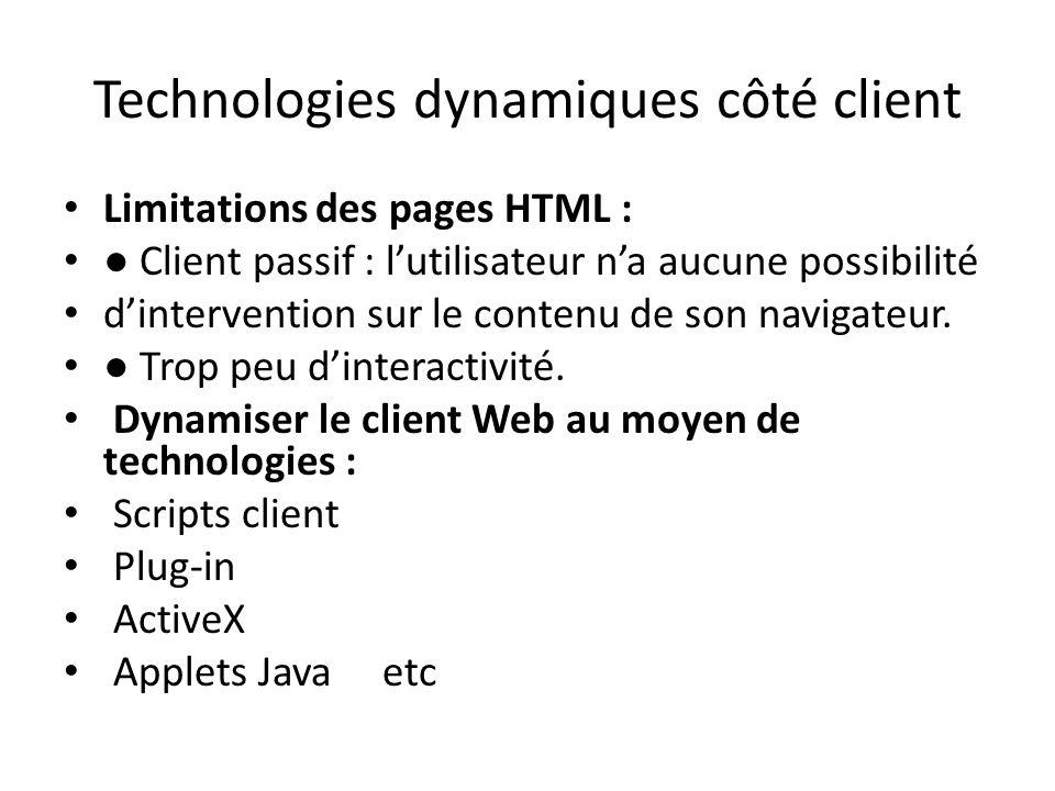 Technologies dynamiques côté client Limitations des pages HTML : ● Client passif : l'utilisateur n'a aucune possibilité d'intervention sur le contenu