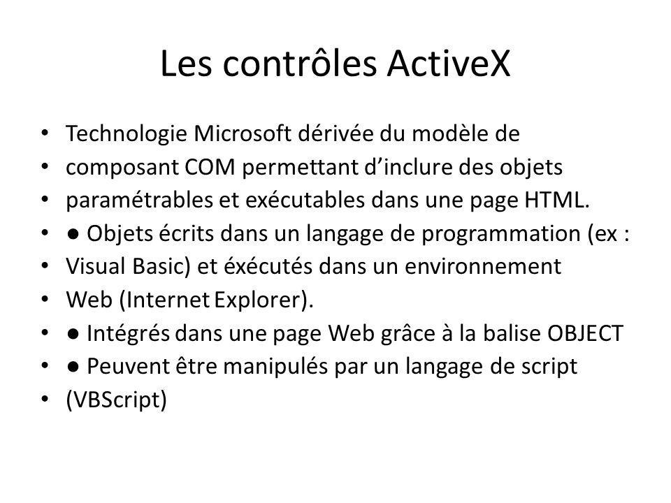 Les contrôles ActiveX Technologie Microsoft dérivée du modèle de composant COM permettant d'inclure des objets paramétrables et exécutables dans une p