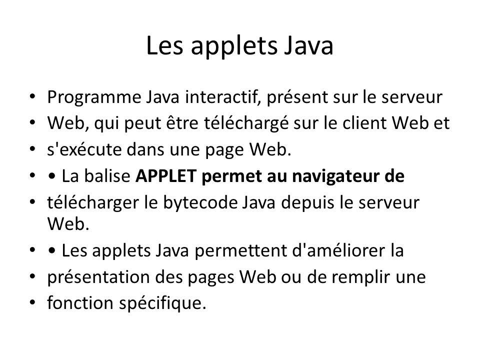 Les applets Java Programme Java interactif, présent sur le serveur Web, qui peut être téléchargé sur le client Web et s'exécute dans une page Web. La