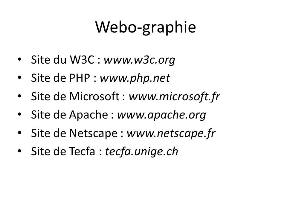 Webo-graphie Site du W3C : www.w3c.org Site de PHP : www.php.net Site de Microsoft : www.microsoft.fr Site de Apache : www.apache.org Site de Netscape