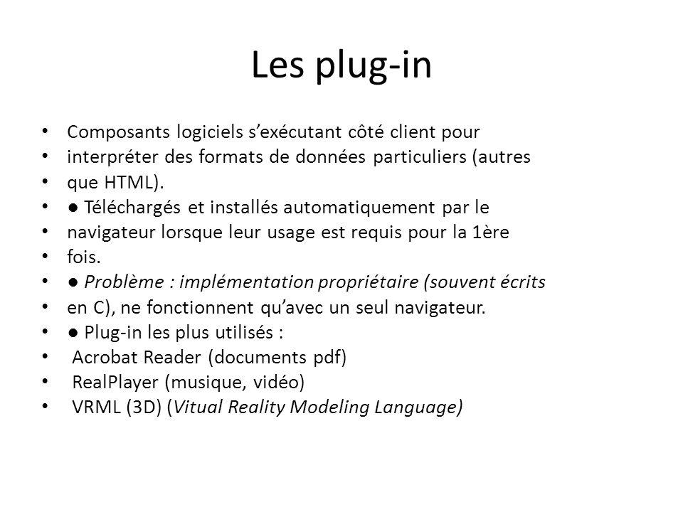Les plug-in Composants logiciels s'exécutant côté client pour interpréter des formats de données particuliers (autres que HTML). ● Téléchargés et inst