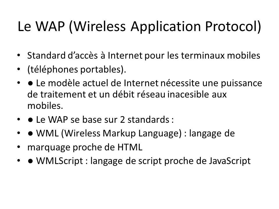 Le WAP (Wireless Application Protocol) Standard d'accès à Internet pour les terminaux mobiles (téléphones portables). ● Le modèle actuel de Internet n