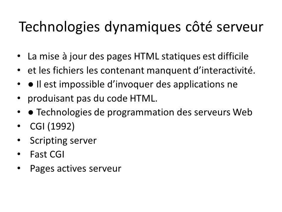 Technologies dynamiques côté serveur La mise à jour des pages HTML statiques est difficile et les fichiers les contenant manquent d'interactivité. ● I