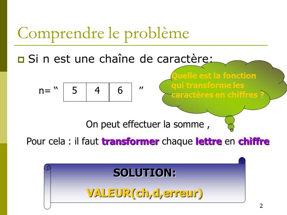2 Comprendre le problème  Si n est une chaîne de caractère: 546 n= '' '' On peut effectuer la somme, Pour cela : il faut transformer chaque lettre en