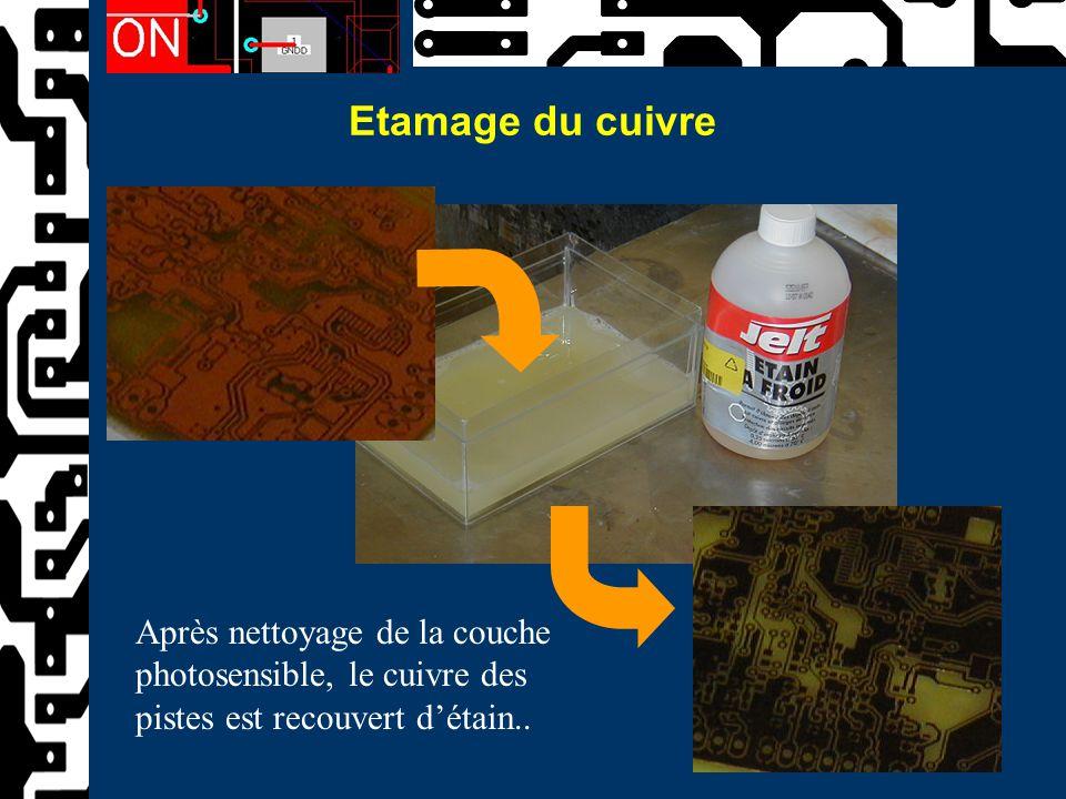 Etamage du cuivre Après nettoyage de la couche photosensible, le cuivre des pistes est recouvert d'étain..