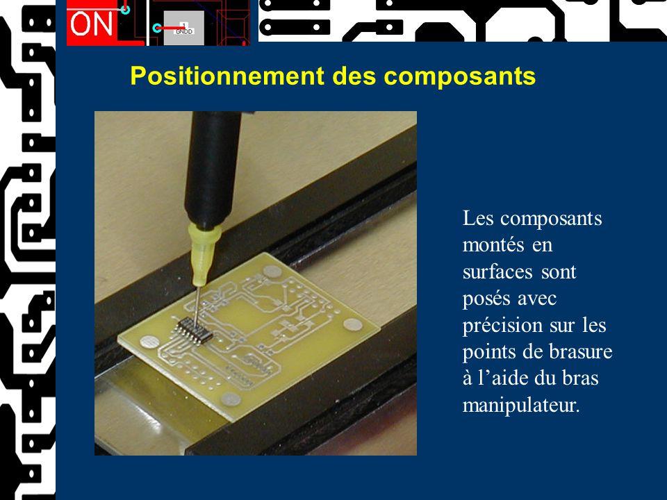 Positionnement des composants Les composants montés en surfaces sont posés avec précision sur les points de brasure à l'aide du bras manipulateur.