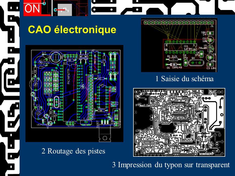 CAO électronique 1 Saisie du schéma 2 Routage des pistes 3 Impression du typon sur transparent
