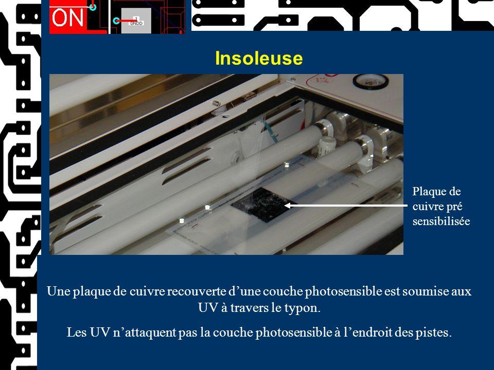 Insoleuse Une plaque de cuivre recouverte d'une couche photosensible est soumise aux UV à travers le typon. Les UV n'attaquent pas la couche photosens