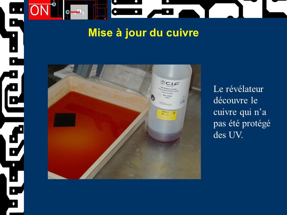 Mise à jour du cuivre Le révélateur découvre le cuivre qui n'a pas été protégé des UV.