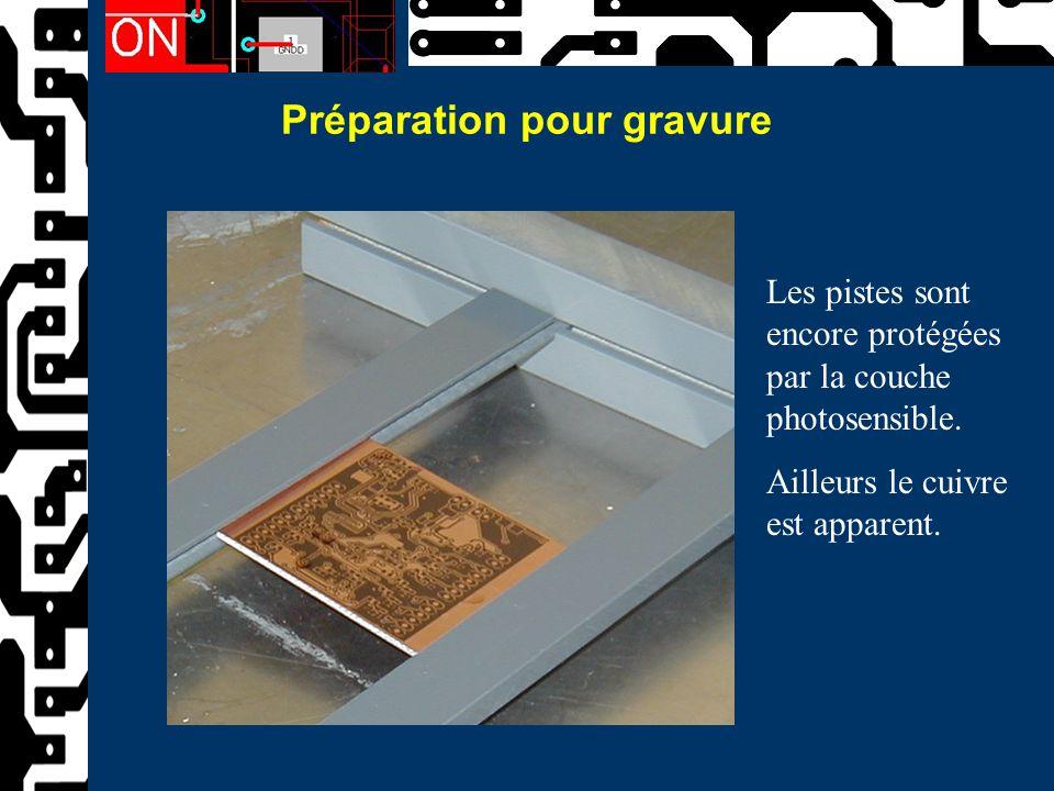 Préparation pour gravure Les pistes sont encore protégées par la couche photosensible. Ailleurs le cuivre est apparent.