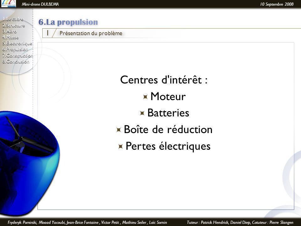 Mini-drone DULBEMA10 Septembre 2008 Fryderyk Pomirski, Moaad Yacoubi, Jean-Brice Fontaine, Victor Petit, Mathieu Seiler, Loïc SorninTuteur : Patrick Hendrick, Daniel Diep, Cotuteur : Pierre Slangen 1.Le cadre 2.Structure 3.Aéro 4.Masse 5.Electronique6.Propulsion7.Construction8.Conclusion Centres d intérêt :  Moteur  Batteries  Boîte de réduction  Pertes électriques Présentation du problème 1
