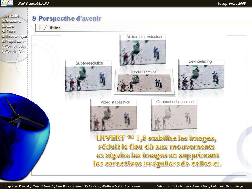 Mini-drone DULBEMA10 Septembre 2008 Fryderyk Pomirski, Moaad Yacoubi, Jean-Brice Fontaine, Victor Petit, Mathieu Seiler, Loïc SorninTuteur : Patrick Hendrick, Daniel Diep, Cotuteur : Pierre Slangen 1.Le cadre 2.Structure 3.Aéro 4.Masse 5.Electronique6.Propulsion7.Construction8.Conclusion iMint 1