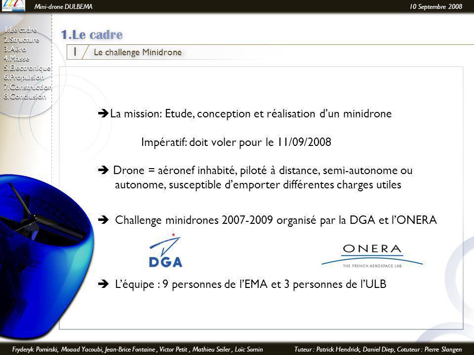 Mini-drone DULBEMA10 Septembre 2008 Fryderyk Pomirski, Moaad Yacoubi, Jean-Brice Fontaine, Victor Petit, Mathieu Seiler, Loïc SorninTuteur : Patrick Hendrick, Daniel Diep, Cotuteur : Pierre Slangen 1.Le cadre 2.Structure 3.Aéro 4.Masse 5.Electronique6.Propulsion7.Construction8.Conclusion Le challenge Minidrone 1  La mission: Etude, conception et réalisation d'un minidrone Impératif: doit voler pour le 11/09/2008  Drone = aéronef inhabité, piloté à distance, semi-autonome ou autonome, susceptible d'emporter différentes charges utiles  Challenge minidrones 2007-2009 organisé par la DGA et l'ONERA  L'équipe : 9 personnes de l'EMA et 3 personnes de l'ULB