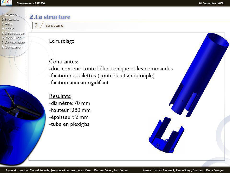 Mini-drone DULBEMA10 Septembre 2008 Fryderyk Pomirski, Moaad Yacoubi, Jean-Brice Fontaine, Victor Petit, Mathieu Seiler, Loïc SorninTuteur : Patrick Hendrick, Daniel Diep, Cotuteur : Pierre Slangen 1.Le cadre 2.Structure 3.Aéro 4.Masse 5.Electronique6.Propulsion7.Construction8.Conclusion Structure 3 Le fuselage Contraintes: -doit contenir toute l'électronique et les commandes -fixation des ailettes (contrôle et anti-couple) -fixation anneau rigidifiant Résultats: -diamètre: 70 mm -hauteur: 280 mm -épaisseur: 2 mm -tube en plexiglas