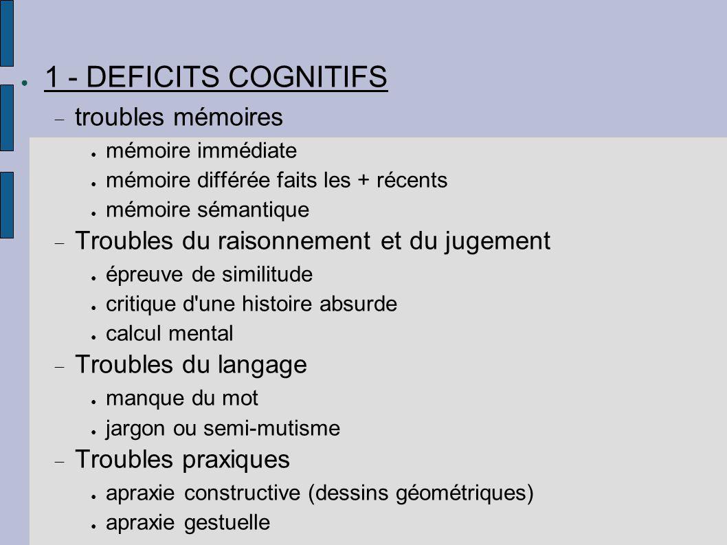 ● 1 - DEFICITS COGNITIFS  troubles mémoires ● mémoire immédiate ● mémoire différée faits les + récents ● mémoire sémantique  Troubles du raisonnemen