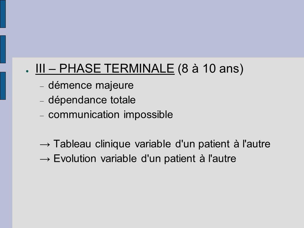 ● III – PHASE TERMINALE (8 à 10 ans)  démence majeure  dépendance totale  communication impossible → Tableau clinique variable d'un patient à l'aut