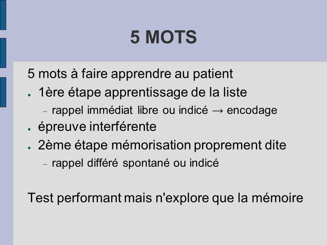 5 MOTS 5 mots à faire apprendre au patient ● 1ère étape apprentissage de la liste  rappel immédiat libre ou indicé → encodage ● épreuve interférente