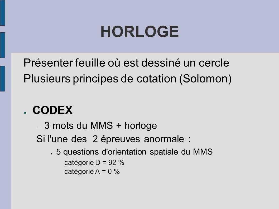 HORLOGE Présenter feuille où est dessiné un cercle Plusieurs principes de cotation (Solomon) ● CODEX  3 mots du MMS + horloge Si l'une des 2 épreuves