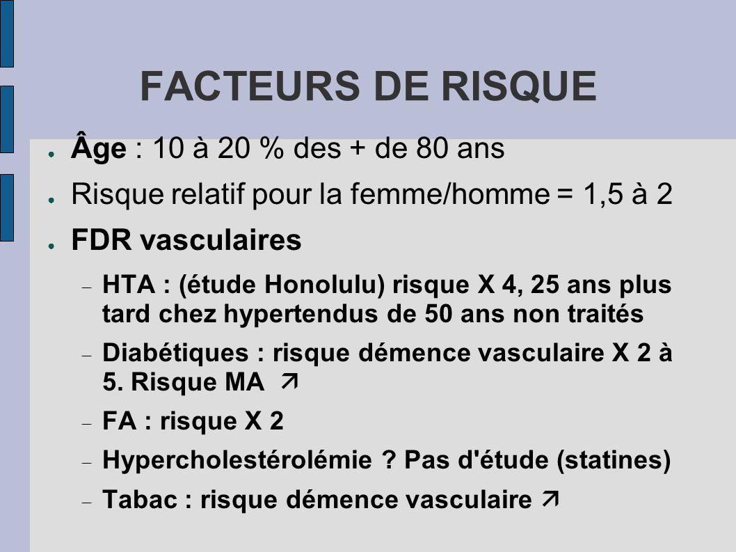 FACTEURS DE RISQUE ● Âge : 10 à 20 % des + de 80 ans ● Risque relatif pour la femme/homme = 1,5 à 2 ● FDR vasculaires  HTA : (étude Honolulu) risque