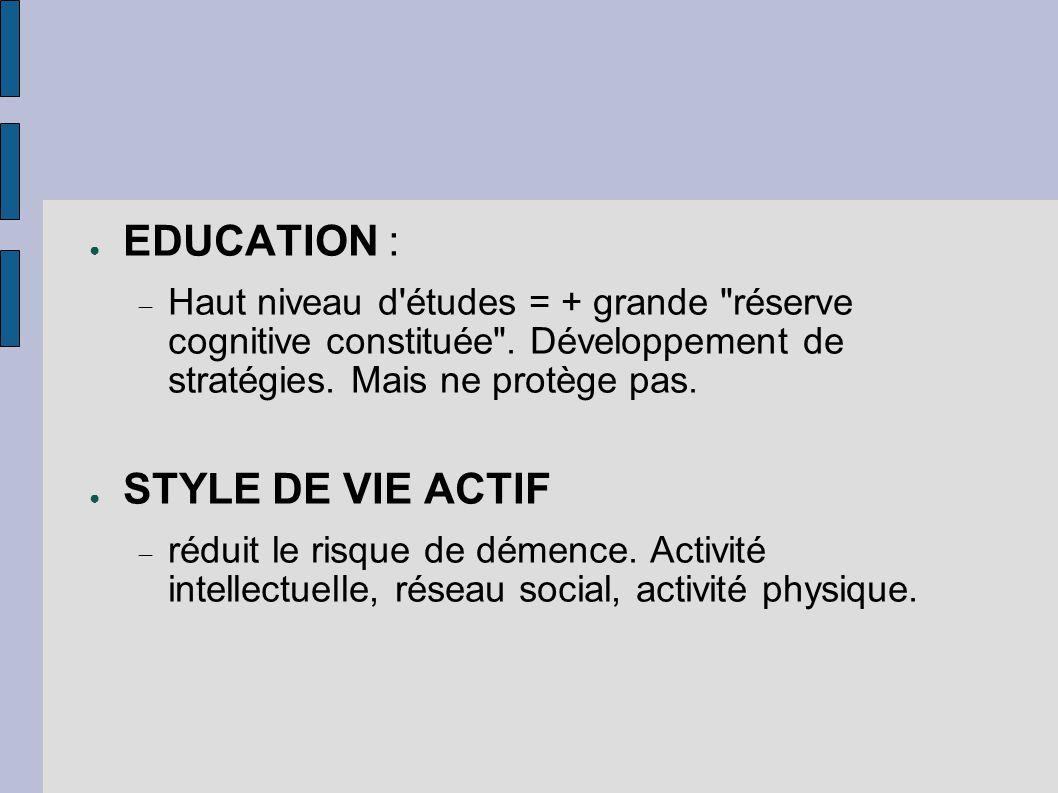 ● EDUCATION :  Haut niveau d'études = + grande