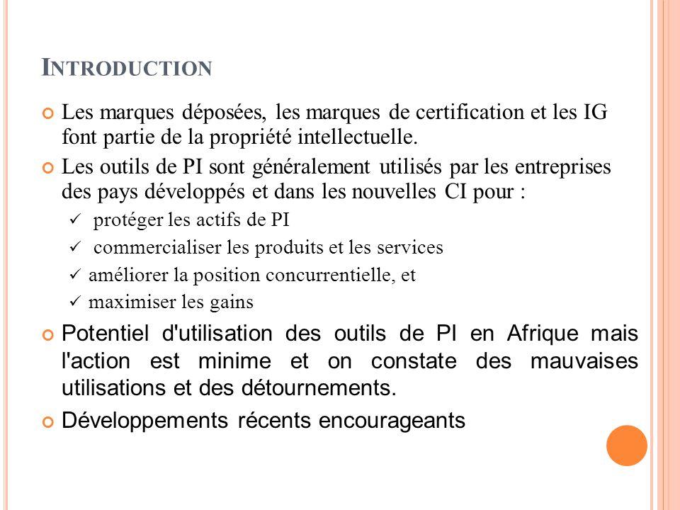 I NTRODUCTION Les marques déposées, les marques de certification et les IG font partie de la propriété intellectuelle.