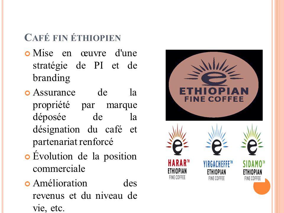 C AFÉ FIN ÉTHIOPIEN Mise en œuvre d une stratégie de PI et de branding Assurance de la propriété par marque déposée de la désignation du café et partenariat renforcé Évolution de la position commerciale Amélioration des revenus et du niveau de vie, etc.