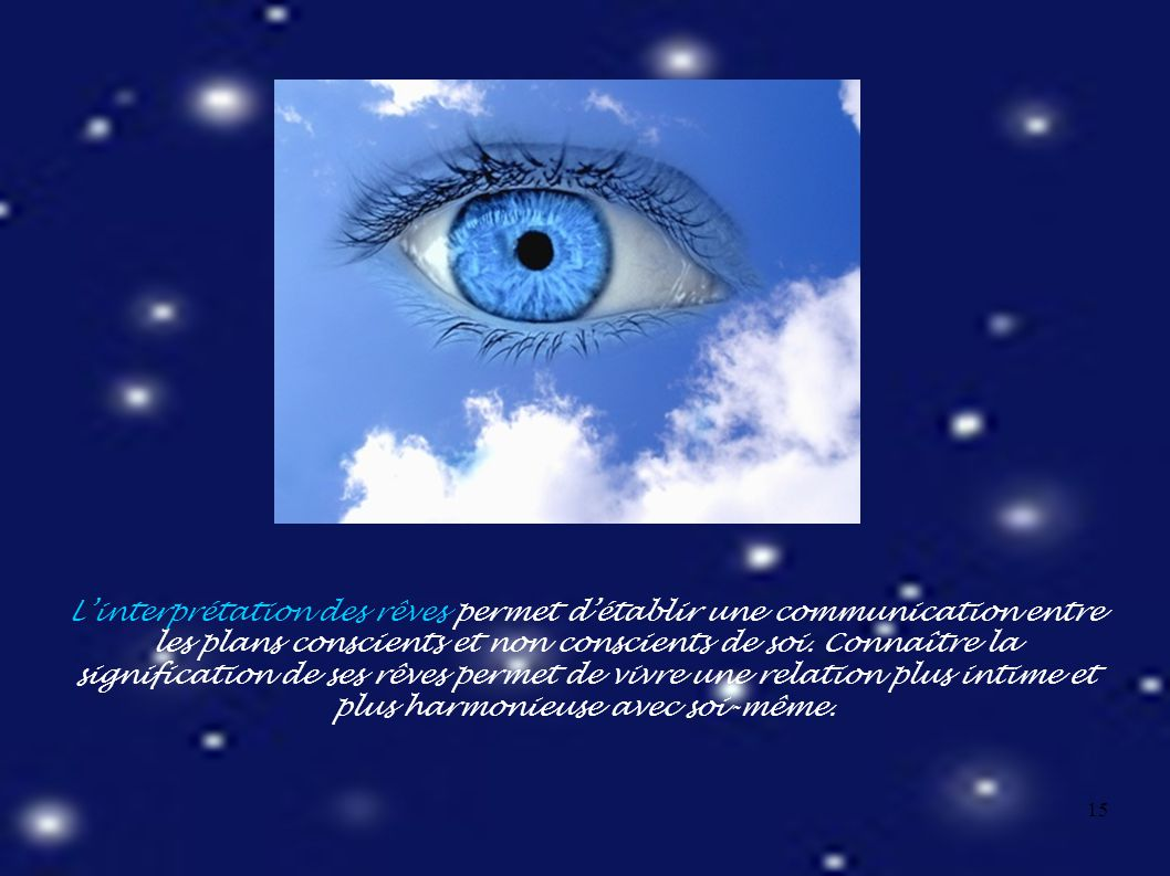 15 L'interprétation des rêves permet d'établir une communication entre les plans conscients et non conscients de soi.