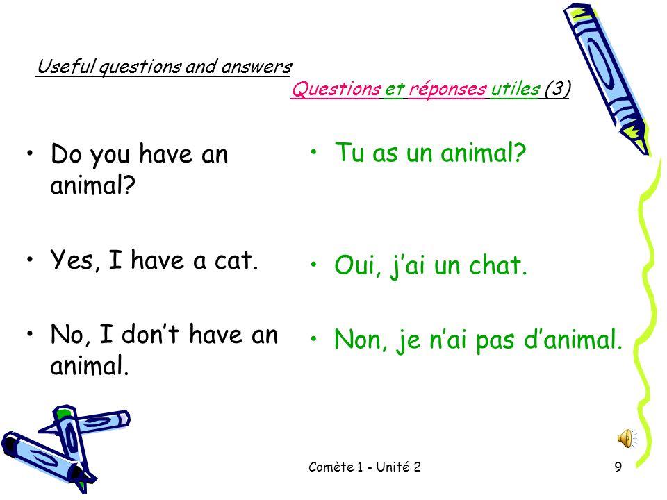 Comète 1 - Unité 29 Useful questions and answers Questions et réponses utiles (3) Do you have an animal.
