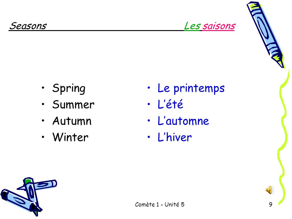 Comète 1 - Unité 59 SeasonsLes saisons Spring Summer Autumn Winter Le printemps L'été L'automne L'hiver