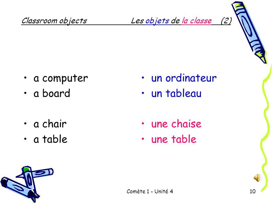Comète 1 - Unité 49 Classroom objectsLes objets de la classe (1) a book bag a pencil a book a marker an eraser a ruler un cartable un crayon un livre