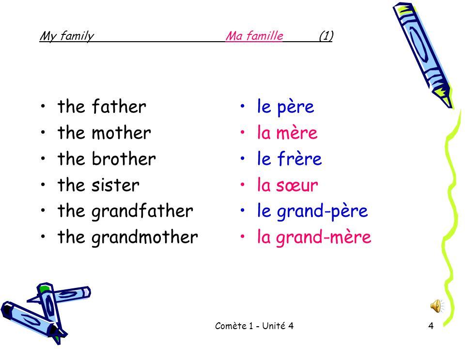 Comète 1 - Unité 44 the father the mother the brother the sister the grandfather the grandmother le père la mère le frère la sœur le grand-père la grand-mère My familyMa famille(1)