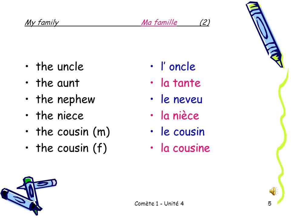 Comète 1 - Unité 45 the uncle the aunt the nephew the niece the cousin (m) the cousin (f) l' oncle la tante le neveu la nièce le cousin la cousine My familyMa famille(2)