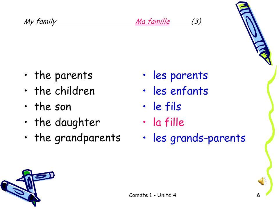 Comète 1 - Unité 46 the parents the children the son the daughter the grandparents les parents les enfants le fils la fille les grands-parents My familyMa famille(3)