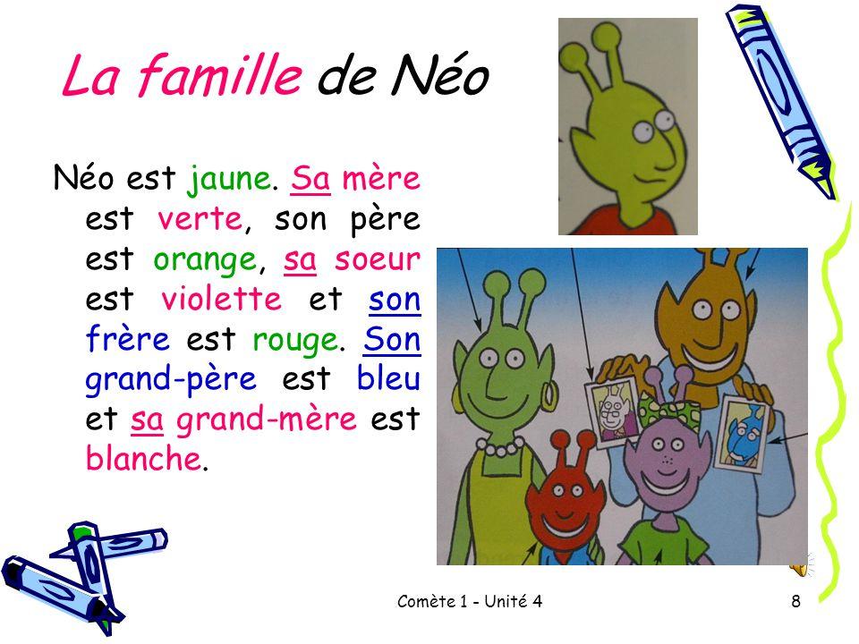 Comète 1 - Unité 48 La famille de Néo Néo est jaune.